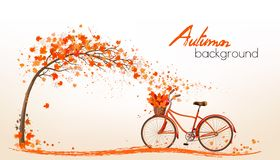 Nature autumn background with colorful leaves and a bicycle. Stock Images