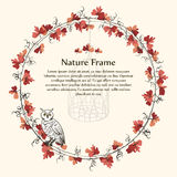 Nature autumn brown leaf vine frame and owl. Stock Photo