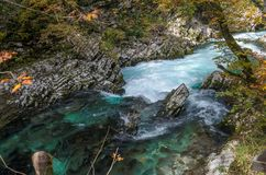 Nature autumn landscape. Waterfall at Soteska Vintgar Slovenia. Stock Photo