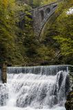 Nature autumn landscape. Waterfall at Soteska vintgar Slovenia. The Vintgar Gorge or Bled Gorge. Stone viaduct Stock Photos