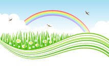 Nature background. Nature background with meadow and rainbow Stock Images