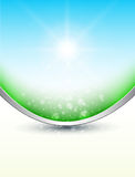 Nature background. Sunny sky and magic dust vector illustration