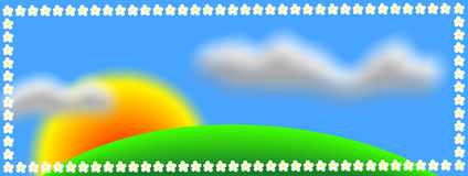 Nature background. Sunrise on a meadow and two clouds stock illustration