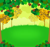 Nature Background. Illustration of a nature background with grass and trees stock illustration