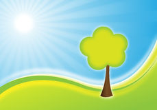 Nature background. With sun and tree Stock Illustration