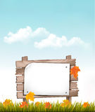 Nature background with autumn leaves and wooden sign. Vector Stock Images