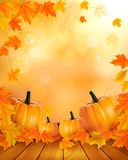 Nature background with autumn leaves and wooden sign. Vector Stock Photos