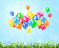 Nature background with balloons Royalty Free Stock Photo