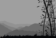 Nature background with bamboo. Black and white scenery wallpaper. Vector illustration Royalty Free Stock Photography