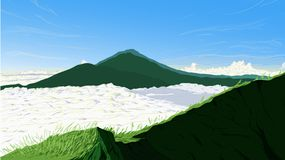 Nature Background of Batur Mountain Indonesia Landscape Vector I. Llustration Royalty Free Stock Photos