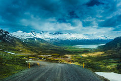Nature background beautiful landscape mountains road hills clouds Iceland Stock Image