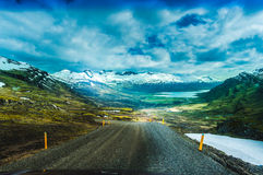 Nature background beautiful landscape mountains road hills clouds Iceland Royalty Free Stock Photography