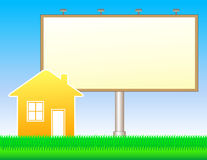 Nature background with billboard and house Royalty Free Stock Image