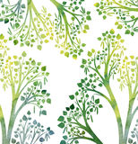Nature background with birch tree branches and green leaves. Green silhouette of birch tree branches with leaves drawing in watercolor, hand drawn artistic Vector Illustration