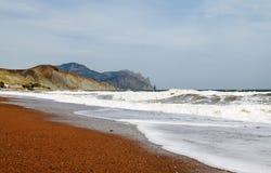 Black Sea coast with a view of Mount Karadag Stock Photo