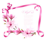 Nature background with blossom branch of magnolia Royalty Free Stock Photo