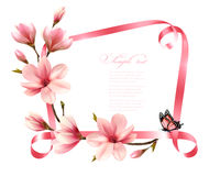 Nature background with blossom branch of pink magnolia Royalty Free Stock Images