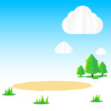 Nature background, Cloud sky field tree origami and polygon elem. Ent, vector illustration eps10 Royalty Free Stock Photography