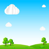 Nature background, Cloud sky field tree and polygon element vect. Or illustration Royalty Free Stock Images