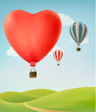 Nature background with colorful air balloons Stock Photography