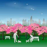 Nature background with couple happy and relax in the sakura park stock illustration