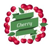 Nature background design with cherries. Stock Photo