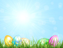 Nature background with Easter eggs Royalty Free Stock Photos