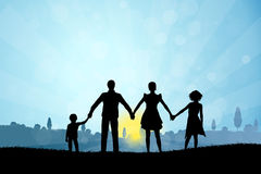 Nature Background with Family Silhouette Stock Photos