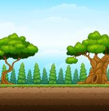 Nature background with field and underground. Illustration of Nature background with field and underground Royalty Free Stock Photo