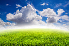 Nature background, Fields and blue sky with clouds background Stock Photography