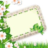 Nature background with flowers and a blank postcard Royalty Free Stock Images