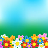Nature background with flowers and blur blue sky. Nature background with green grass and flowers and blue sky. Vector Stock Images