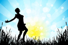 Nature Background with Girl Silhouette Stock Photography