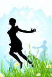 Nature Background with Girl Silhouette in Jump Royalty Free Stock Image