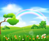 Nature background with green grass. And flowers and blue sky Royalty Free Stock Photo