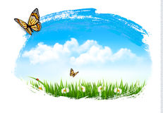 Nature background with green grass, flowers and a butterfly. Vector stock illustration