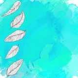 Nature background with hand drawn leaves Stock Photo