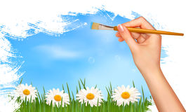 Nature background with hand holding a brush. Vector illustration royalty free illustration