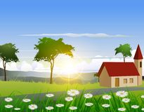 Nature background with house and sunlight effect Royalty Free Stock Image