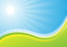Nature background illustration. Green and blue background illustration with sun for design Vector Illustration