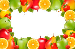 Nature background made of delicious ripe fruit. Vector royalty free illustration
