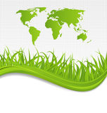 Nature background with map earth and grass Stock Photography