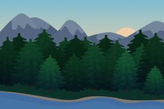 Nature background of mountains panorama. Colorful sunset in wild valley. Vector Illustrations Stock Images