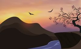 Nature background of mountains and river panorama. Colorful sunset in wild valley. Windy sky. Brown tones. Vector stock illustration