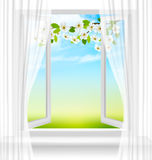 Nature background with open window and spring blossom of cherry. Stock Photo