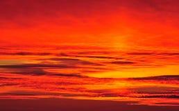 Nature background - red/orange sky at sunset Stock Image