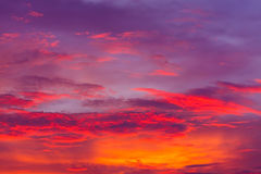 Nature background. Red sky at night and clouds. Beautiful and co Royalty Free Stock Images