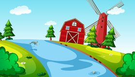 Nature background scene with barn, windmill and river. Illustration