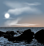 Nature background, sea stones during dusk Stock Photography
