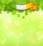 Nature Background with Shamrocks and Irish Flag for St. Patricks Day Stock Photos